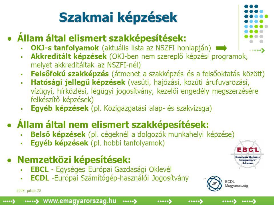 2009. július 20. Szakmai képzések  Állam által elismert szakképesítések:  OKJ-s tanfolyamok (aktuális lista az NSZFI honlapján)  Akkreditált képzés