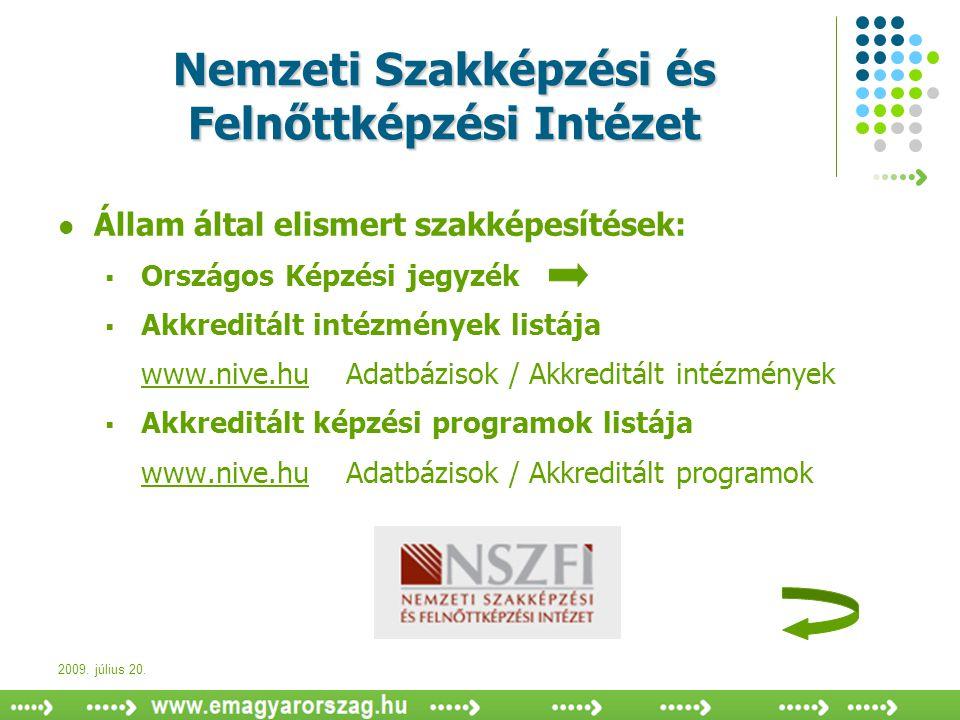 2009. július 20. Nemzeti Szakképzési és Felnőttképzési Intézet  Állam által elismert szakképesítések:  Országos Képzési jegyzék  Akkreditált intézm