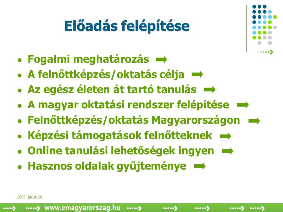 2009. július 20. Előadás felépítése  Fogalmi meghatározás  A felnőttképzés/oktatás célja  Az egész életen át tartó tanulás  A magyar oktatási rend