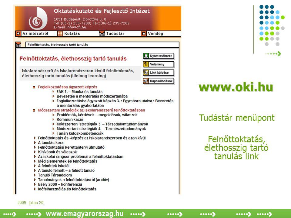 2009. július 20. www.oki.hu Tudástár menüpont Felnőttoktatás, élethosszig tartó tanulás link