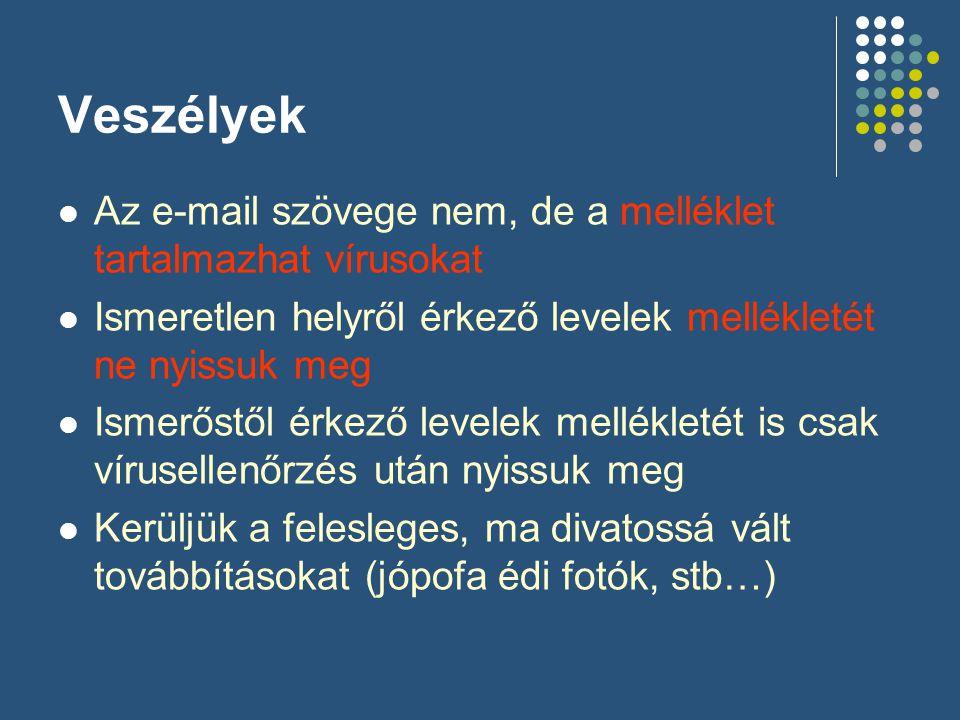Veszélyek  Az e-mail szövege nem, de a melléklet tartalmazhat vírusokat  Ismeretlen helyről érkező levelek mellékletét ne nyissuk meg  Ismerőstől é