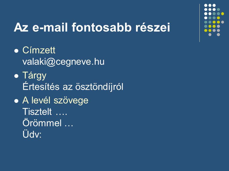 Az e-mail fontosabb részei  Címzett valaki@cegneve.hu  Tárgy Értesítés az ösztöndíjról  A levél szövege Tisztelt …. Örömmel … Üdv: