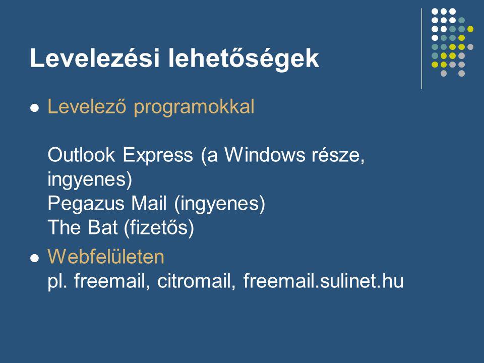 Levelezési lehetőségek  Levelező programokkal Outlook Express (a Windows része, ingyenes) Pegazus Mail (ingyenes) The Bat (fizetős)  Webfelületen pl