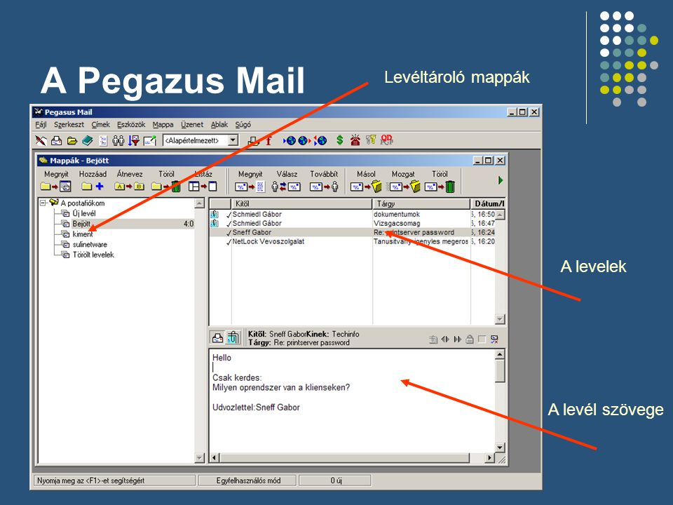 A Pegazus Mail Levéltároló mappák A levelek A levél szövege