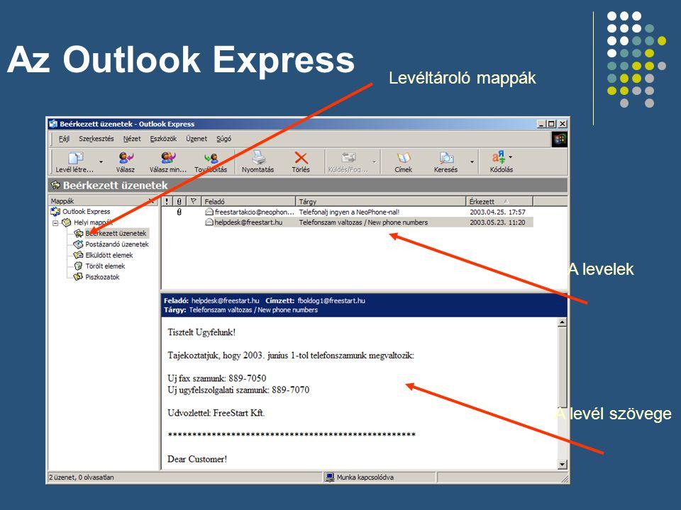Az Outlook Express Levéltároló mappák A levelek A levél szövege
