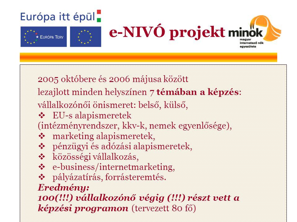 2005 októbere és 2006 májusa között lezajlott minden helyszínen 7 témában a képzés: vállalkozónői önismeret: belső, külső,  EU-s alapismeretek (intézményrendszer, kkv-k, nemek egyenlősége),  marketing alapismeretek,  pénzügyi és adózási alapismeretek,  közösségi vállalkozás,  e-business/internetmarketing,  pályázatírás, forrásteremtés.