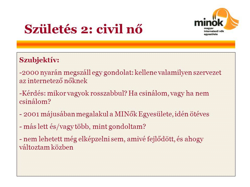 Születés 2: civil nő Szubjektív: -2000 nyarán megszáll egy gondolat: kellene valamilyen szervezet az internetező nőknek -Kérdés: mikor vagyok rosszabbul.