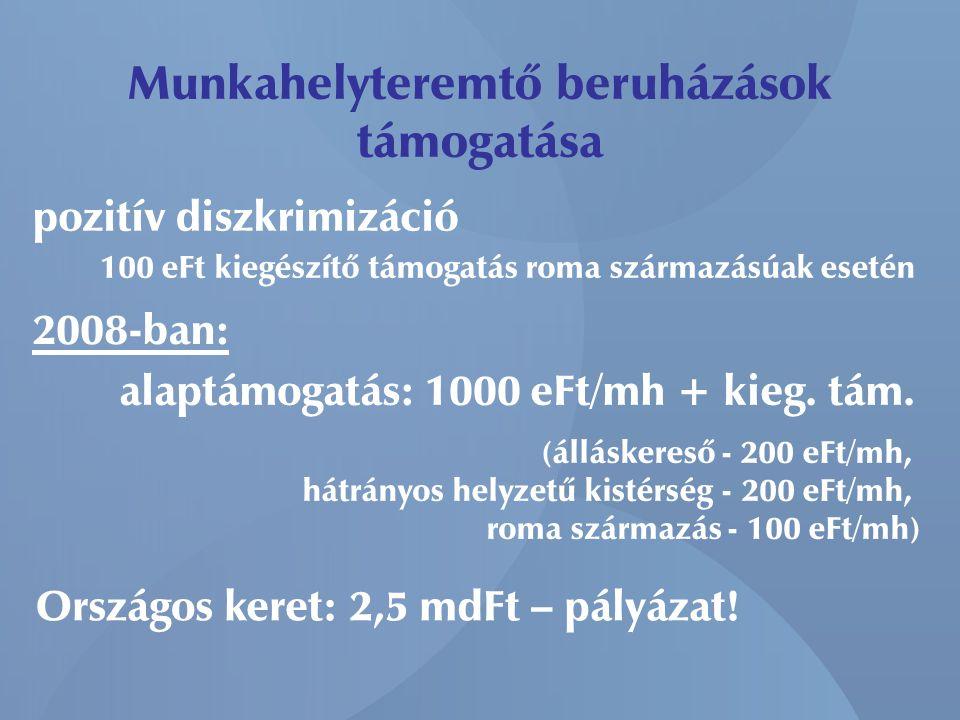 Munkahelyteremtő beruházások támogatása pozitív diszkrimizáció 100 eFt kiegészítő támogatás roma származásúak esetén 2008-ban: alaptámogatás: 1000 eFt/mh + kieg.