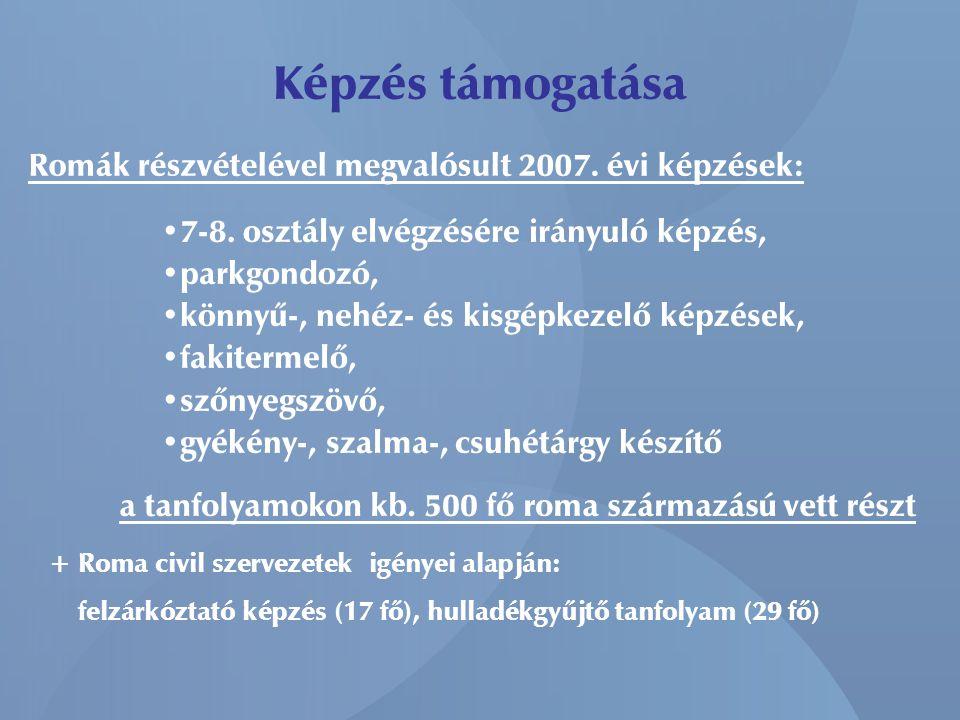 Képzés támogatása Romák részvételével megvalósult 2007. évi képzések: • 7-8. osztály elvégzésére irányuló képzés, • parkgondozó, • könnyű-, nehéz- és