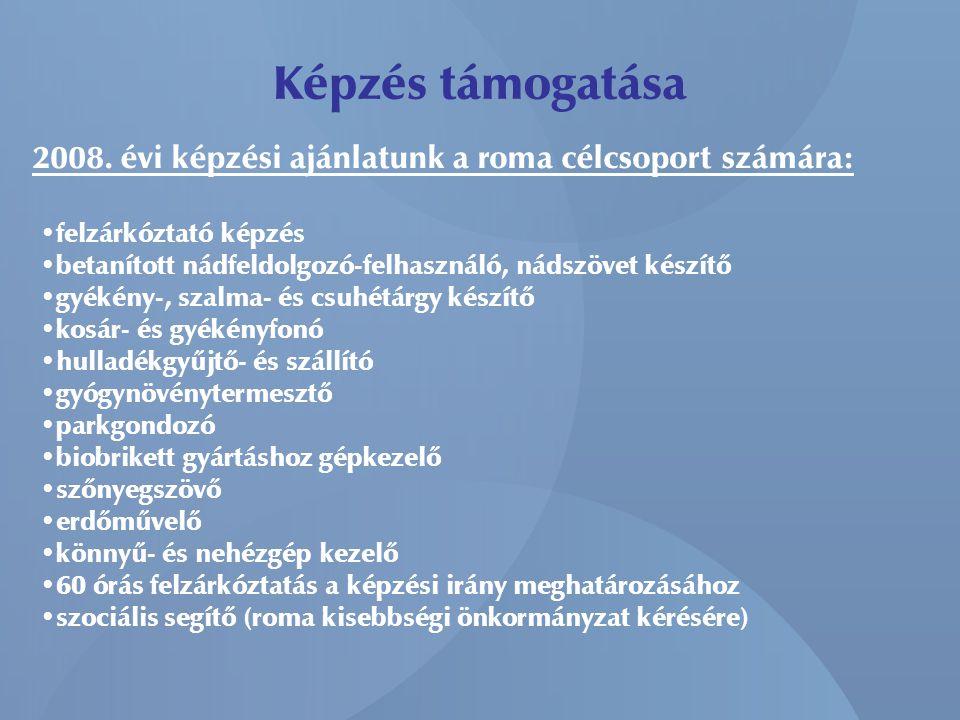Képzés támogatása 2008. évi képzési ajánlatunk a roma célcsoport számára: • felzárkóztató képzés • betanított nádfeldolgozó-felhasználó, nádszövet kés