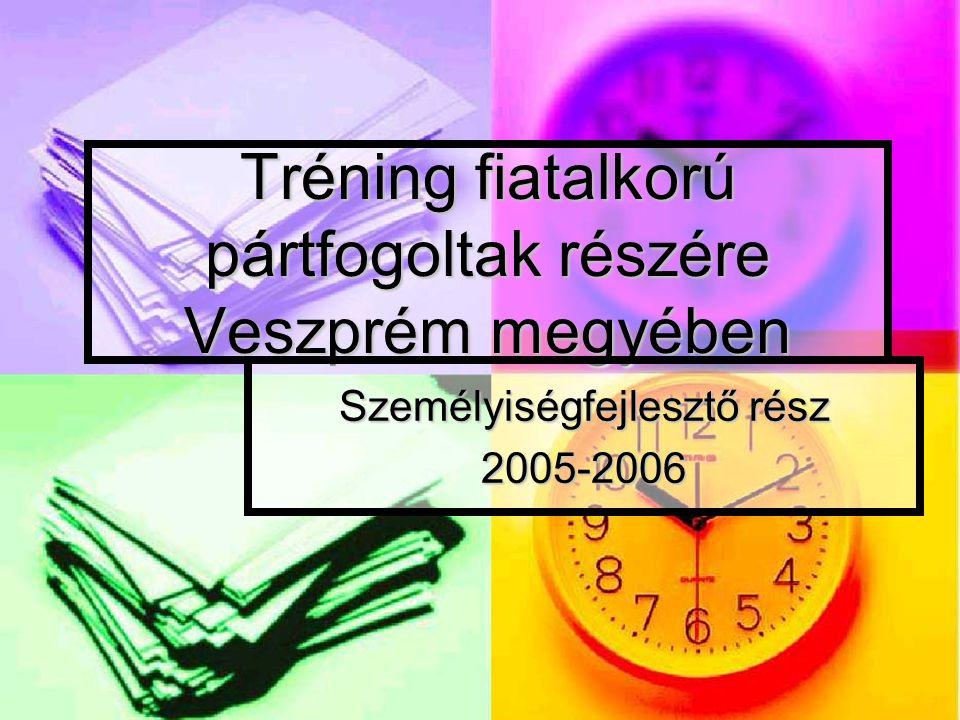Tréning fiatalkorú pártfogoltak részére Veszprém megyében Személyiségfejlesztő rész 2005-2006