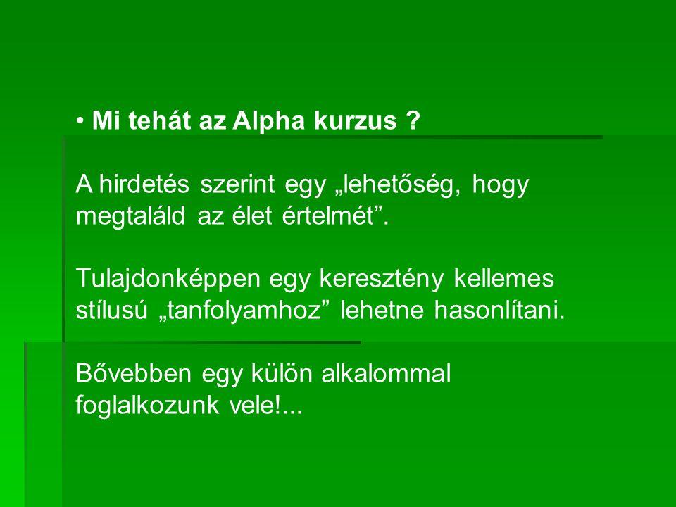 """• Mi tehát az Alpha kurzus . A hirdetés szerint egy """"lehetőség, hogy megtaláld az élet értelmét ."""