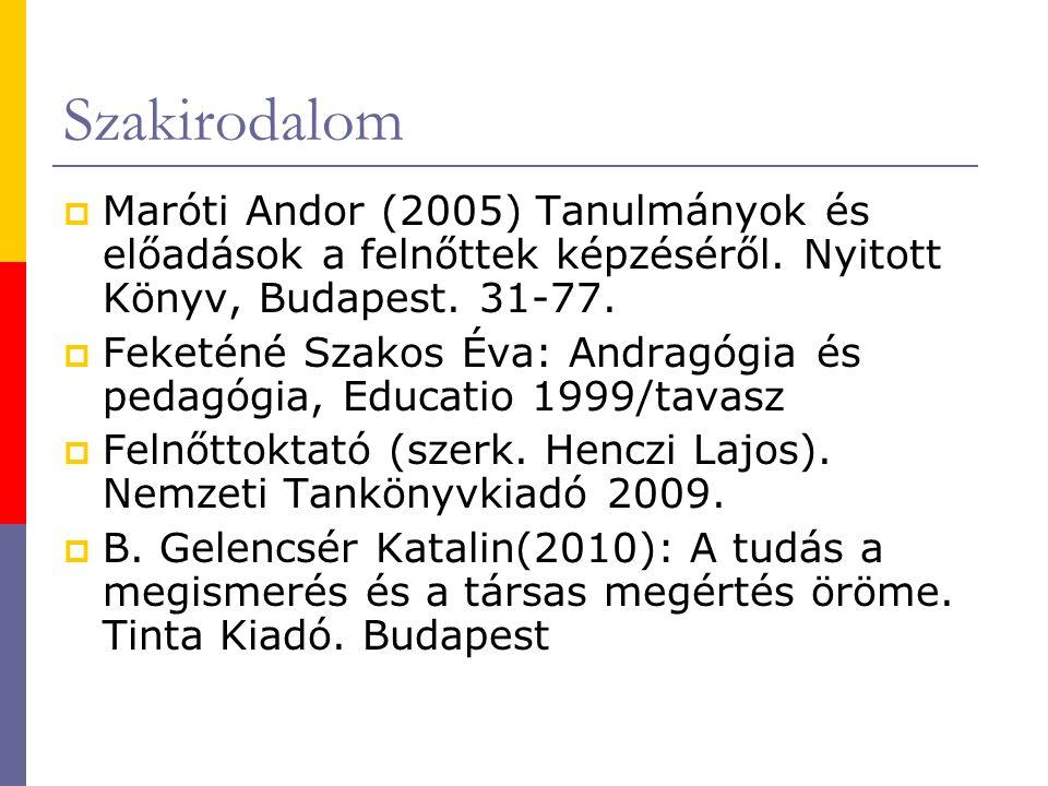 Szakirodalom  Maróti Andor (2005) Tanulmányok és előadások a felnőttek képzéséről.