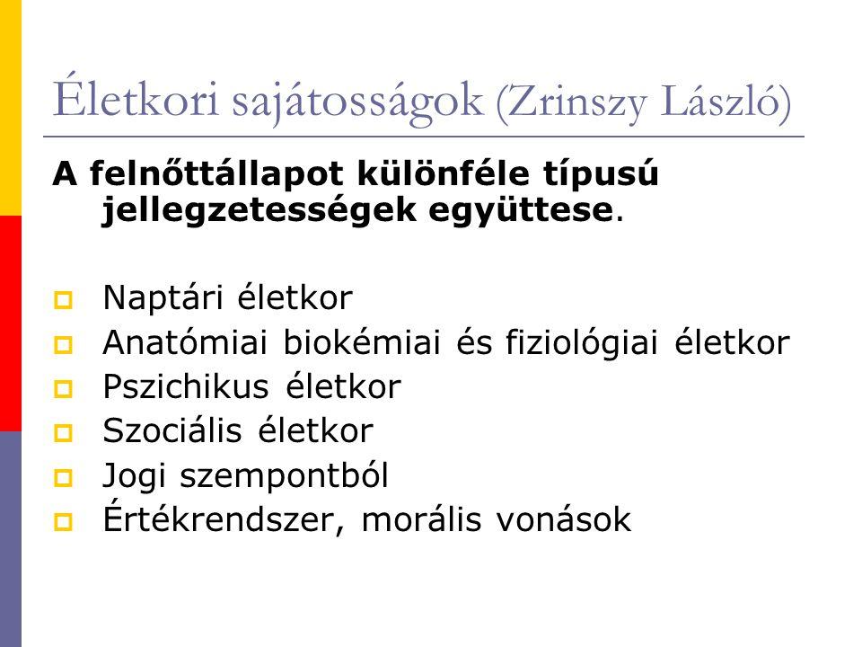 Életkori sajátosságok (Zrinszy László) A felnőttállapot különféle típusú jellegzetességek együttese.