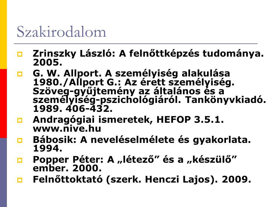 Szakirodalom  Zrinszky László: A felnőttképzés tudománya.
