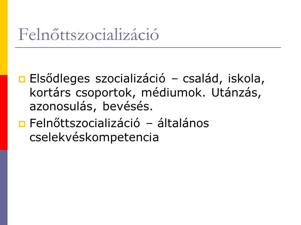 Felnőttszocializáció  Elsődleges szocializáció – család, iskola, kortárs csoportok, médiumok.