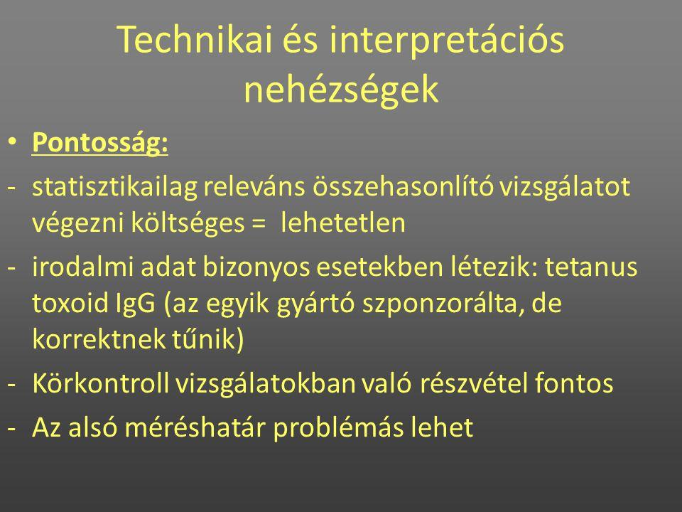 Technikai és interpretációs nehézségek • Pontosság: -statisztikailag releváns összehasonlító vizsgálatot végezni költséges = lehetetlen -irodalmi adat