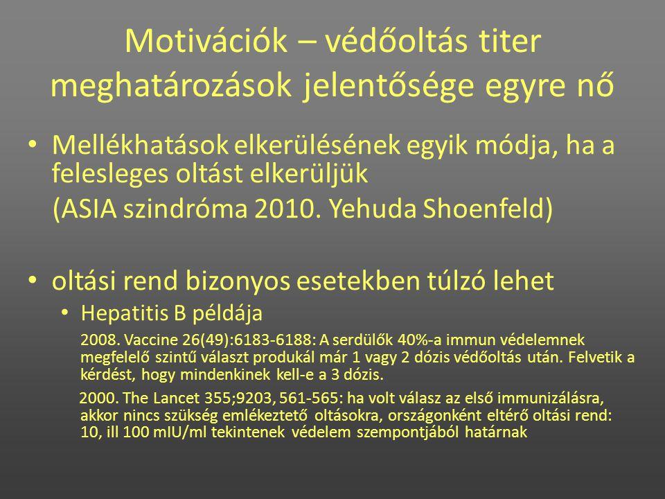 • Mellékhatások elkerülésének egyik módja, ha a felesleges oltást elkerüljük (ASIA szindróma 2010. Yehuda Shoenfeld) • oltási rend bizonyos esetekben