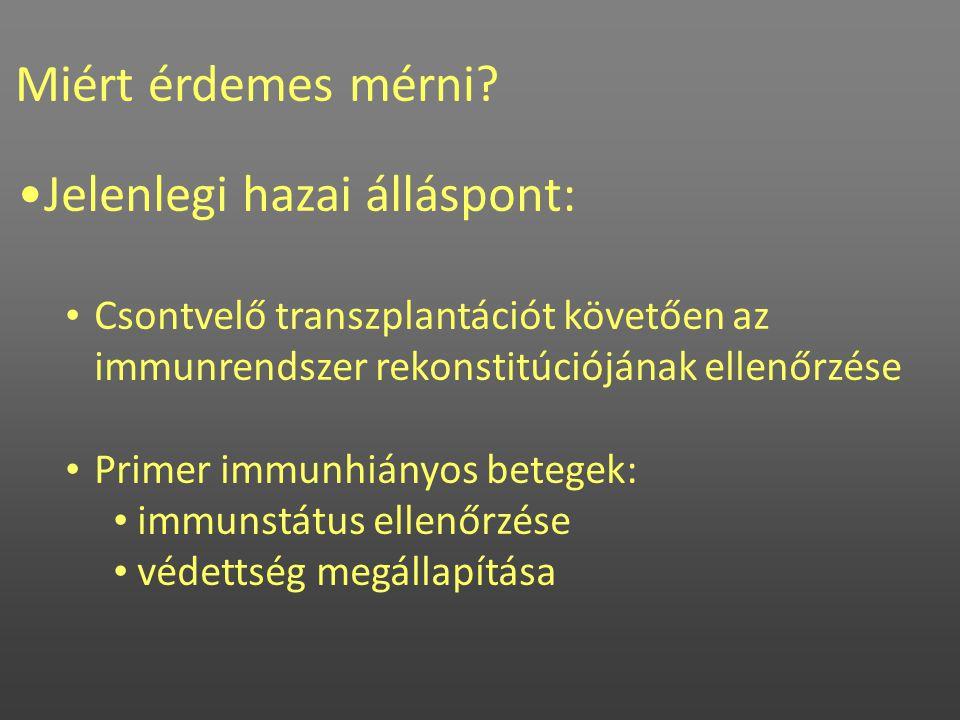 Miért érdemes mérni? •Jelenlegi hazai álláspont: • Csontvelő transzplantációt követően az immunrendszer rekonstitúciójának ellenőrzése • Primer immunh