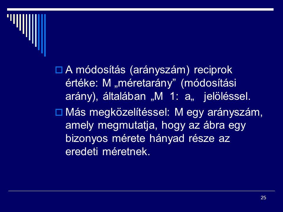 """25  A módosítás (arányszám) reciprok értéke: M """"méretarány"""" (módosítási arány), általában """"M 1: a"""" jelöléssel.  Más megközelítéssel: M egy arányszám"""