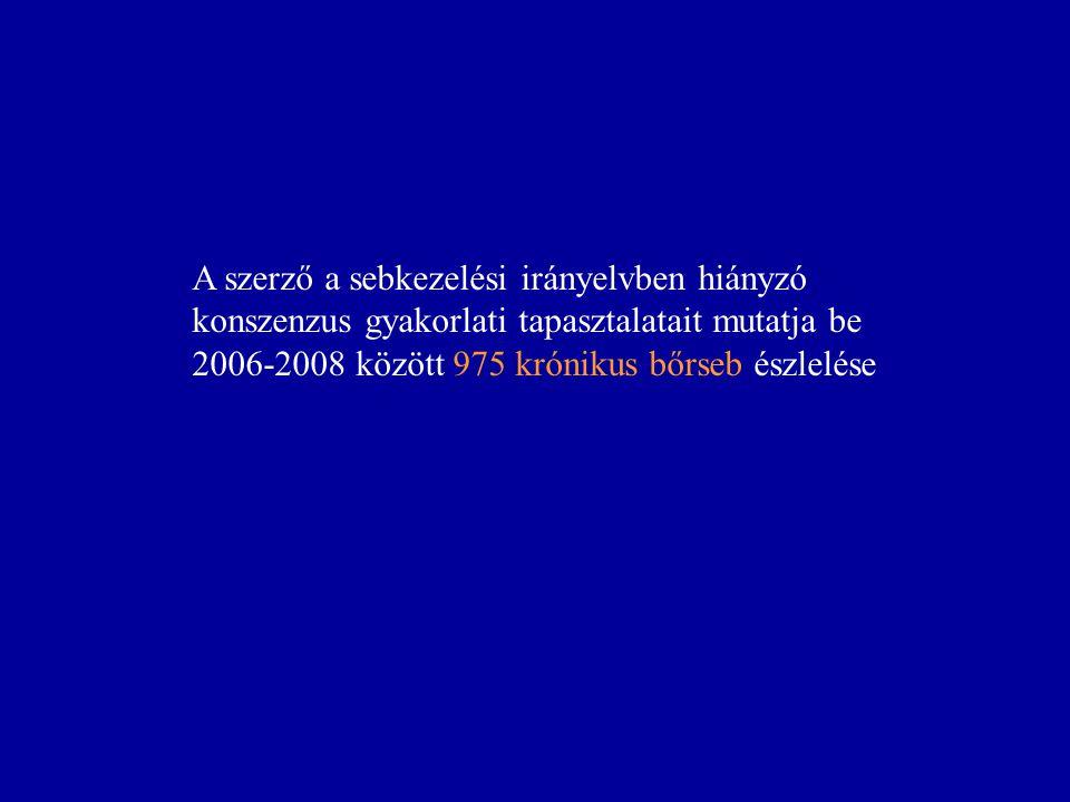 A szerző a sebkezelési irányelvben hiányzó konszenzus gyakorlati tapasztalatait mutatja be 2006-2008 között 975 krónikus bőrseb észlelése