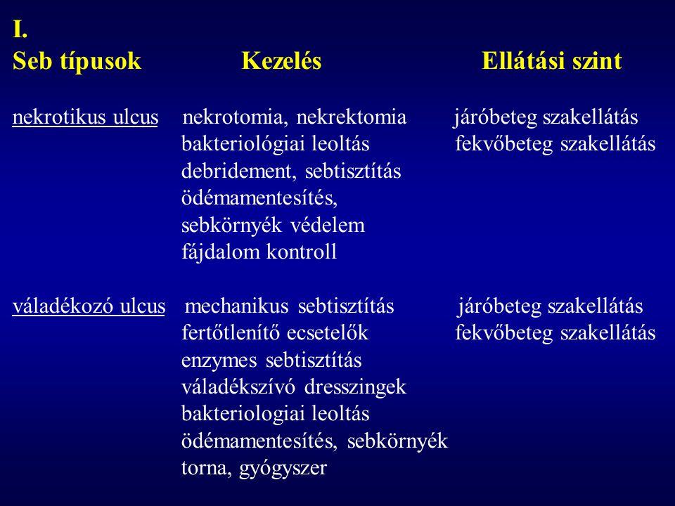 I. Seb típusok Kezelés Ellátási szint nekrotikus ulcus nekrotomia, nekrektomia járóbeteg szakellátás bakteriológiai leoltás fekvőbeteg szakellátás deb