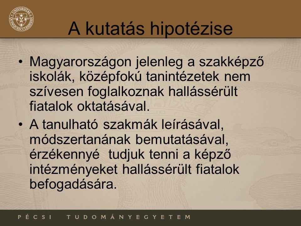 A kutatás hipotézise •Magyarországon jelenleg a szakképző iskolák, középfokú tanintézetek nem szívesen foglalkoznak hallássérült fiatalok oktatásával.
