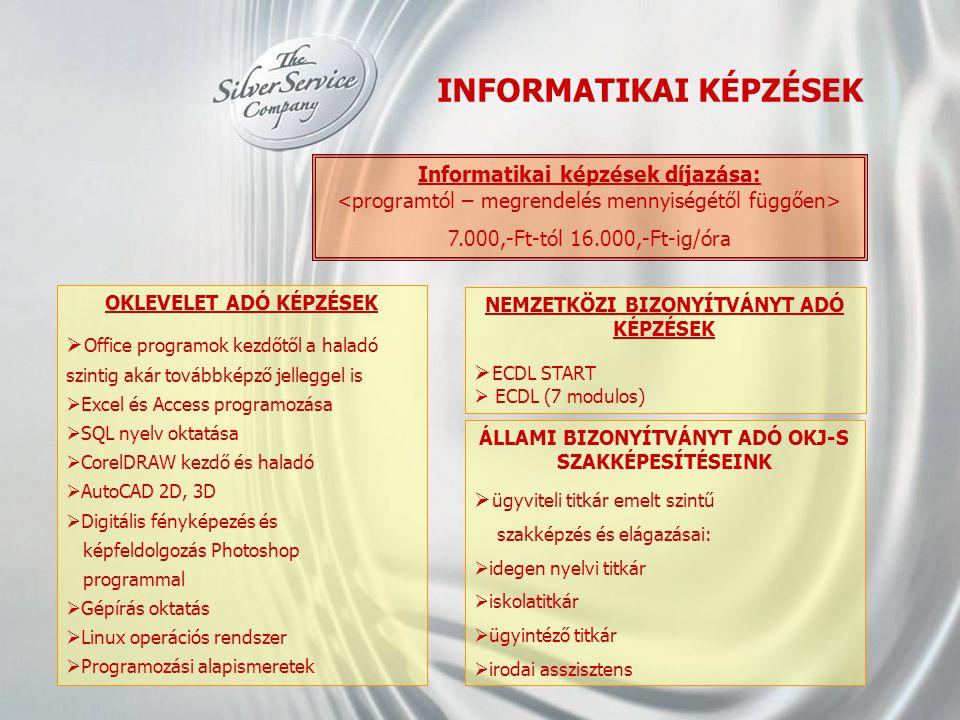 INFORMATIKAI KÉPZÉSEK NEMZETKÖZI BIZONYÍTVÁNYT ADÓ KÉPZÉSEK  ECDL START  ECDL (7 modulos) ÁLLAMI BIZONYÍTVÁNYT ADÓ OKJ-S SZAKKÉPESÍTÉSEINK  ügyvite