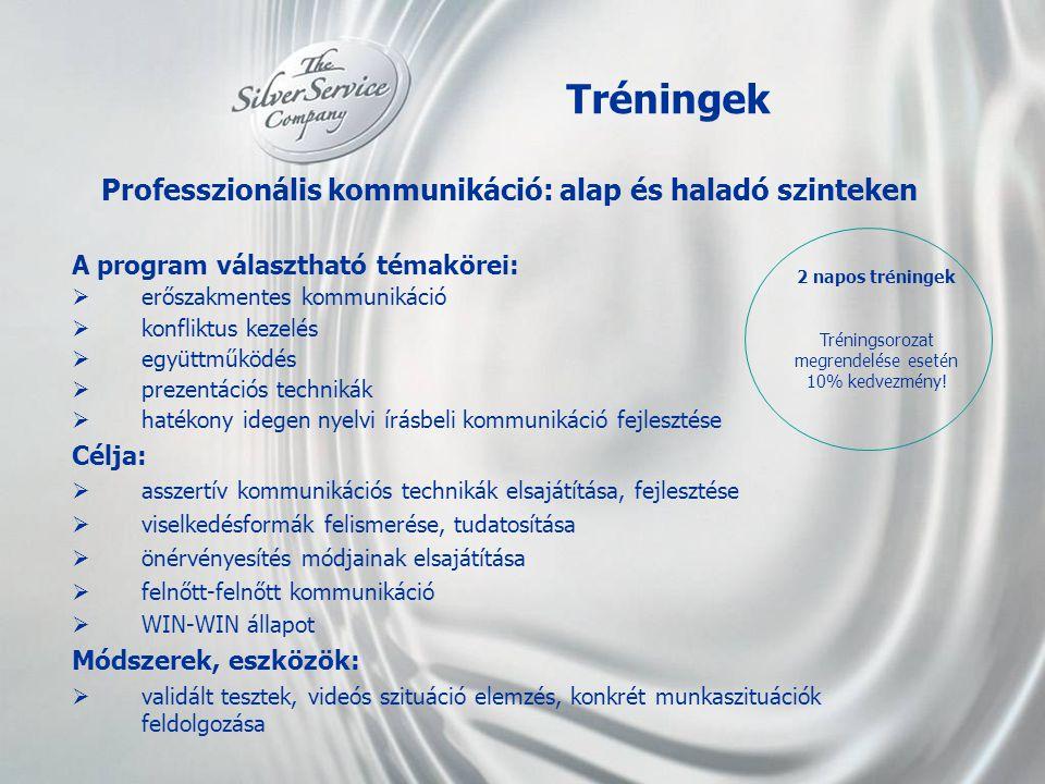 Tréningek Professzionális kommunikáció: alap és haladó szinteken A program választható témakörei:  erőszakmentes kommunikáció  konfliktus kezelés 