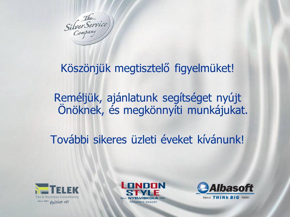 Köszönjük megtisztelő figyelmüket! Reméljük, ajánlatunk segítséget nyújt Önöknek, és megkönnyíti munkájukat. További sikeres üzleti éveket kívánunk!