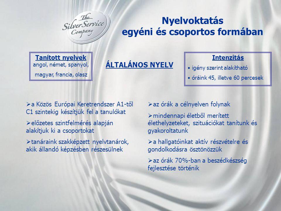 Nyelvoktatás egyéni és csoportos formában Tanított nyelvek angol, német, spanyol, magyar, francia, olasz  a Közös Európai Keretrendszer A1-től C1 szi