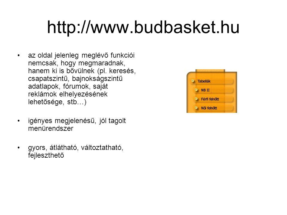 http://www.budbasket.hu •az oldal jelenleg meglévő funkciói nemcsak, hogy megmaradnak, hanem ki is bővülnek (pl.
