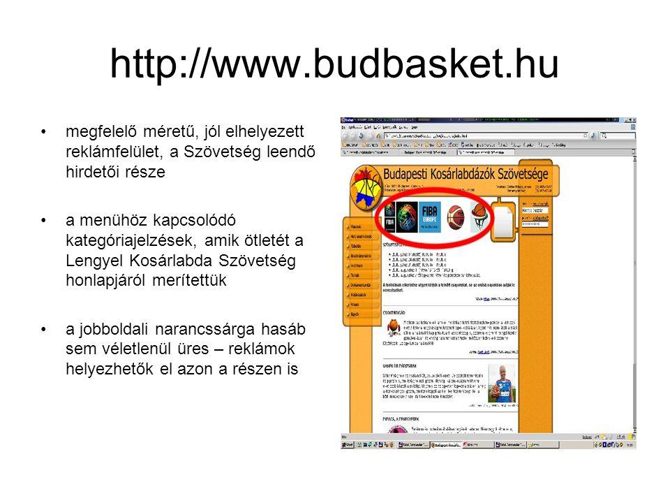 http://www.budbasket.hu •megfelelő méretű, jól elhelyezett reklámfelület, a Szövetség leendő hirdetői része •a menühöz kapcsolódó kategóriajelzések, amik ötletét a Lengyel Kosárlabda Szövetség honlapjáról merítettük •a jobboldali narancssárga hasáb sem véletlenül üres – reklámok helyezhetők el azon a részen is