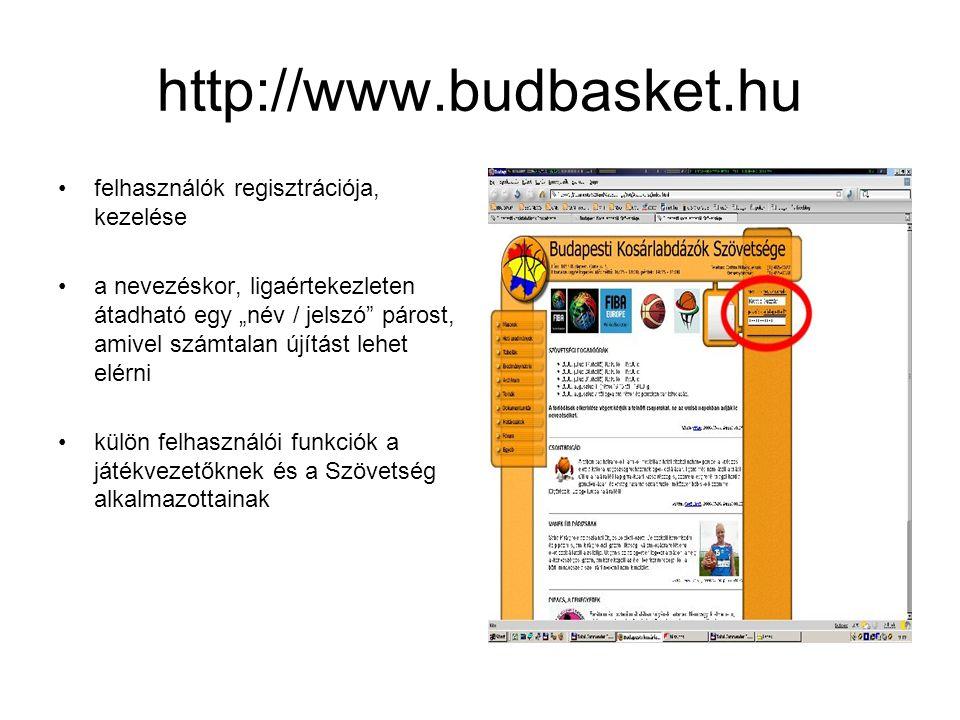 """http://www.budbasket.hu •felhasználók regisztrációja, kezelése •a nevezéskor, ligaértekezleten átadható egy """"név / jelszó párost, amivel számtalan újítást lehet elérni •külön felhasználói funkciók a játékvezetőknek és a Szövetség alkalmazottainak"""