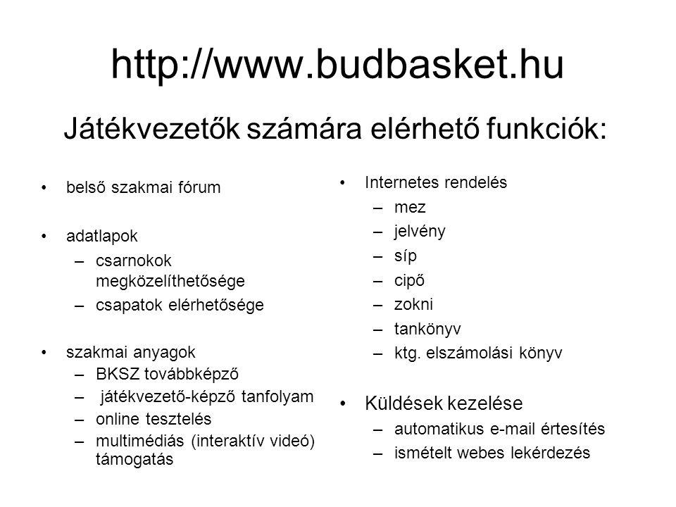 http://www.budbasket.hu •belső szakmai fórum •adatlapok –csarnokok megközelíthetősége –csapatok elérhetősége •szakmai anyagok –BKSZ továbbképző – játékvezető-képző tanfolyam –online tesztelés –multimédiás (interaktív videó) támogatás Játékvezetők számára elérhető funkciók: •Internetes rendelés –mez –jelvény –síp –cipő –zokni –tankönyv –ktg.