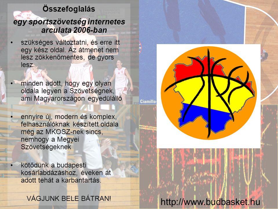 http://www.budbasket.hu Összefoglalás egy sportszövetség internetes arculata 2006-ban •szükséges változtatni, és erre itt egy kész oldal.