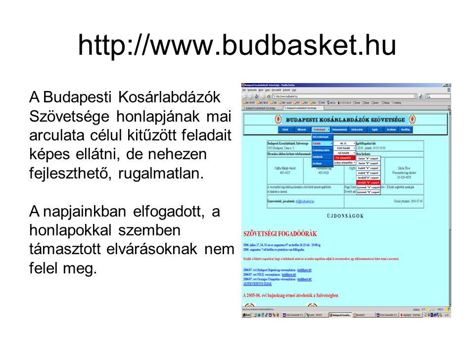 http://www.budbasket.hu A Budapesti Kosárlabdázók Szövetsége honlapjának mai arculata célul kitűzött feladait képes ellátni, de nehezen fejleszthető, rugalmatlan.