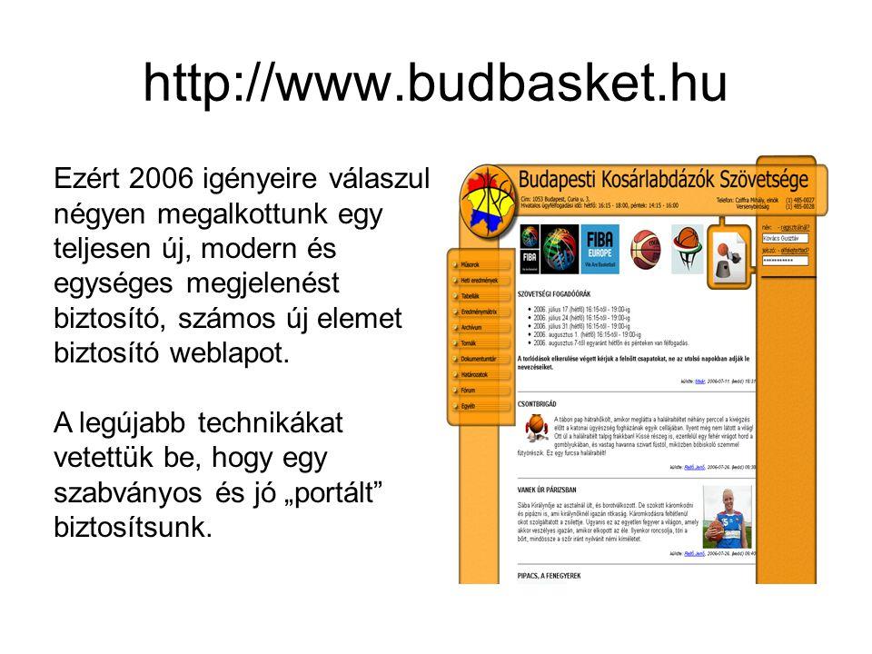 http://www.budbasket.hu Ezért 2006 igényeire válaszul négyen megalkottunk egy teljesen új, modern és egységes megjelenést biztosító, számos új elemet biztosító weblapot.