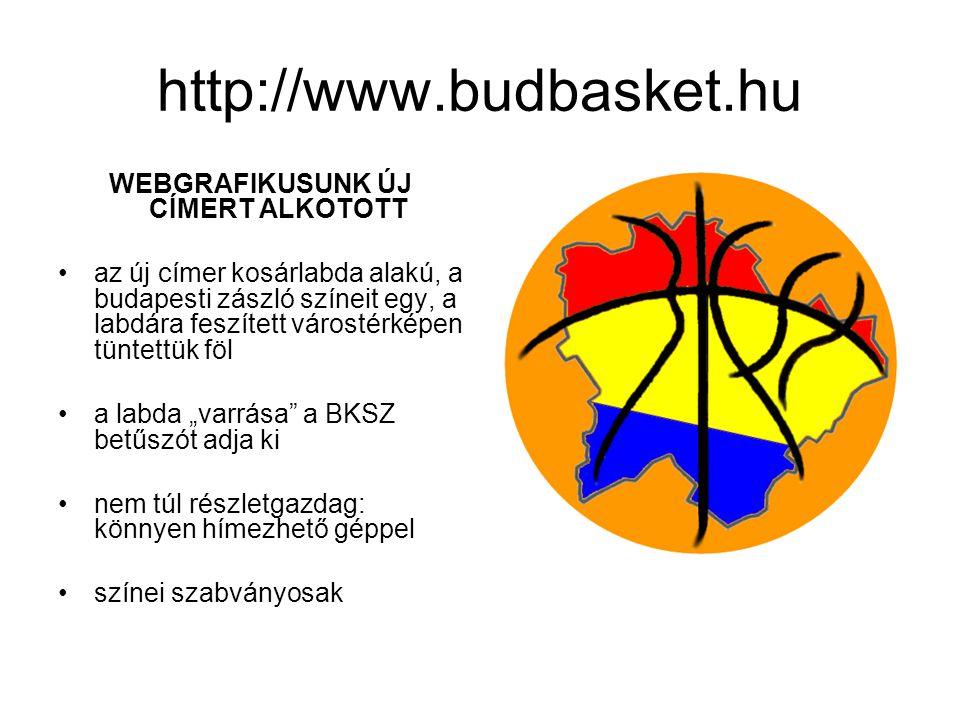 """http://www.budbasket.hu WEBGRAFIKUSUNK ÚJ CÍMERT ALKOTOTT •az új címer kosárlabda alakú, a budapesti zászló színeit egy, a labdára feszített várostérképen tüntettük föl •a labda """"varrása a BKSZ betűszót adja ki •nem túl részletgazdag: könnyen hímezhető géppel •színei szabványosak"""