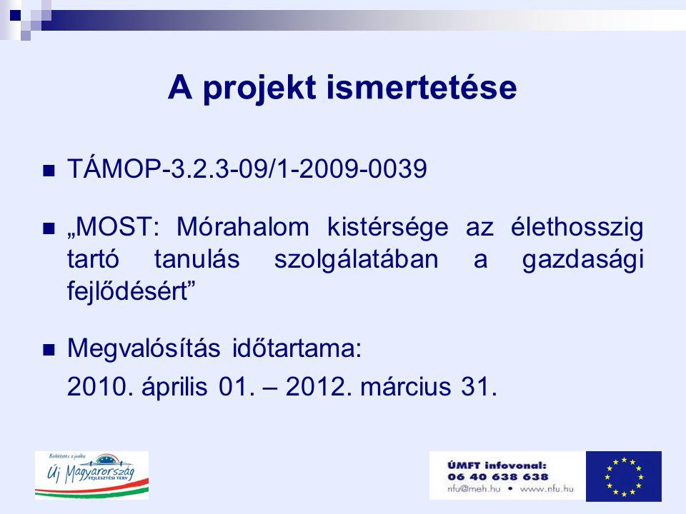 """A projekt ismertetése  TÁMOP-3.2.3-09/1-2009-0039  """"MOST: Mórahalom kistérsége az élethosszig tartó tanulás szolgálatában a gazdasági fejlődésért  Megvalósítás időtartama: 2010."""