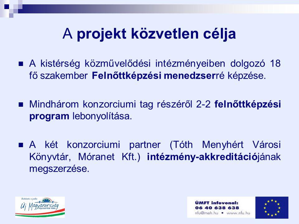 A projekt közvetlen célja  A kistérség közművelődési intézményeiben dolgozó 18 fő szakember Felnőttképzési menedzserré képzése.