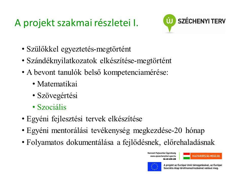 A projekt szakmai részletei I.