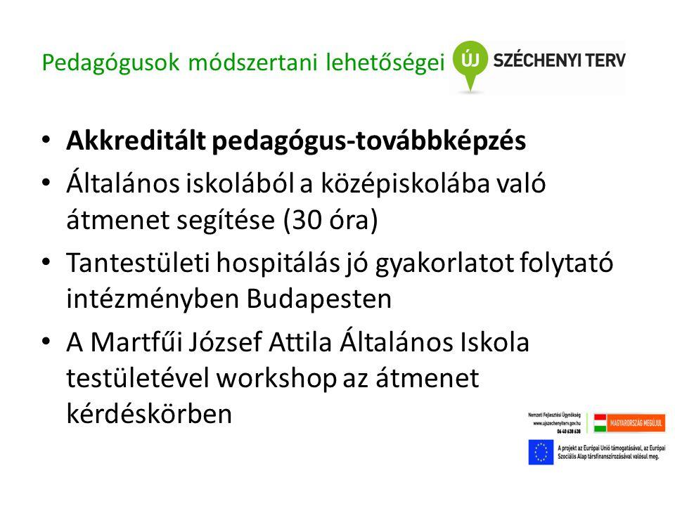 Pedagógusok módszertani lehetőségei • Akkreditált pedagógus-továbbképzés • Általános iskolából a középiskolába való átmenet segítése (30 óra) • Tantestületi hospitálás jó gyakorlatot folytató intézményben Budapesten • A Martfűi József Attila Általános Iskola testületével workshop az átmenet kérdéskörben