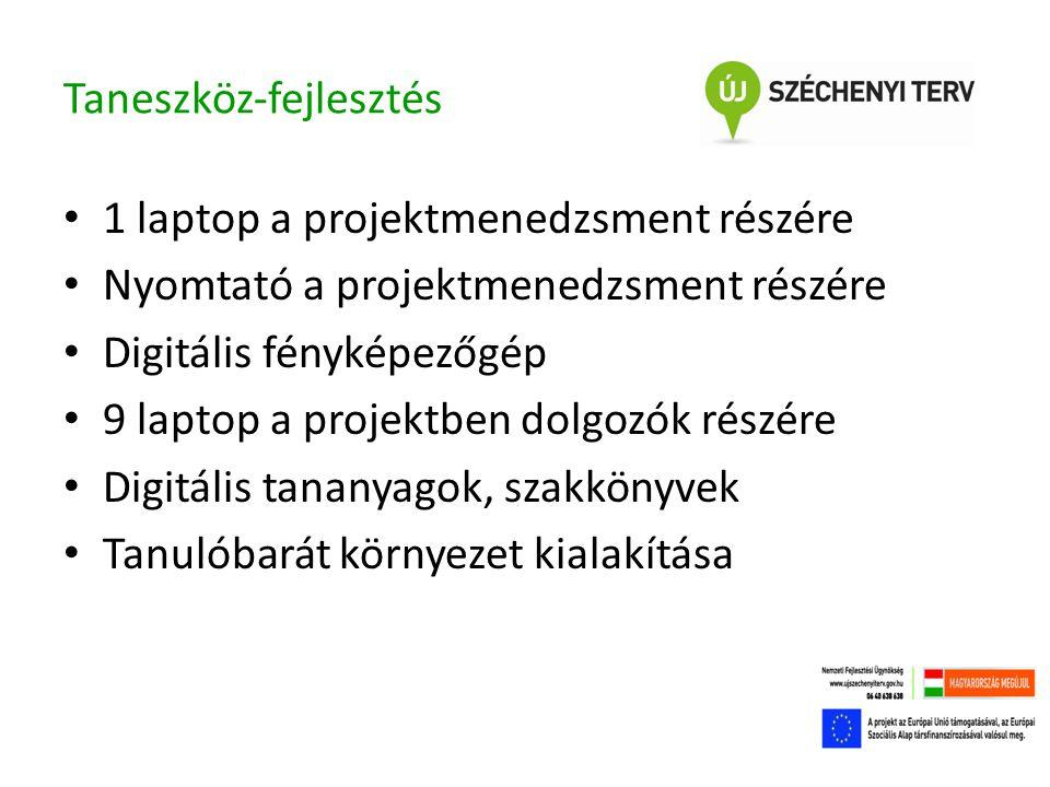 Taneszköz-fejlesztés • 1 laptop a projektmenedzsment részére • Nyomtató a projektmenedzsment részére • Digitális fényképezőgép • 9 laptop a projektben dolgozók részére • Digitális tananyagok, szakkönyvek • Tanulóbarát környezet kialakítása