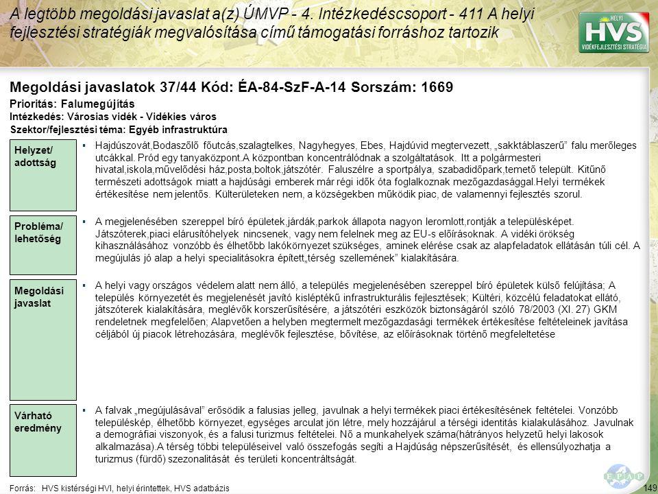 149 Forrás:HVS kistérségi HVI, helyi érintettek, HVS adatbázis Megoldási javaslatok 37/44 Kód: ÉA-84-SzF-A-14 Sorszám: 1669 A legtöbb megoldási javasl