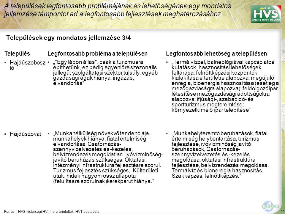 41 Települések egy mondatos jellemzése 3/4 A települések legfontosabb problémájának és lehetőségének egy mondatos jellemzése támpontot ad a legfontosa