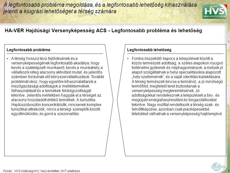 5 HA-VER Hajdúsági Versenyképesség ACS - Legfontosabb probléma és lehetőség A legfontosabb probléma megoldása, és a legfontosabb lehetőség kihasználás