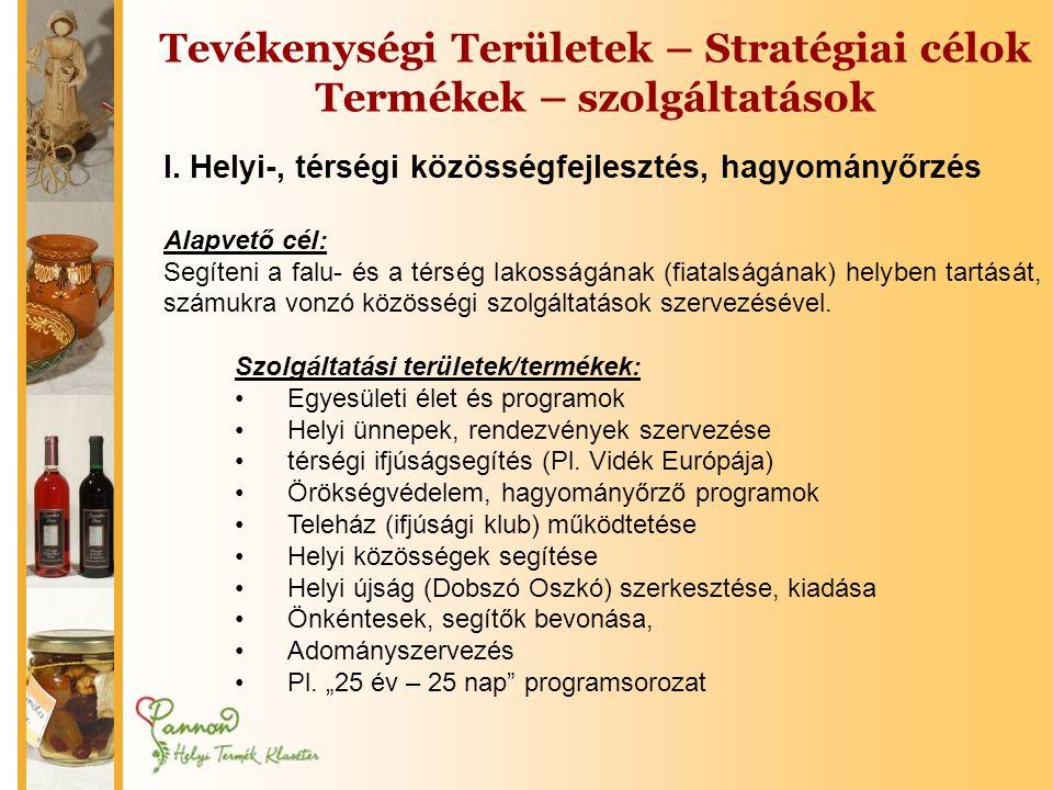 Tevékenységi Területek – Stratégiai célok Termékek – szolgáltatások I.