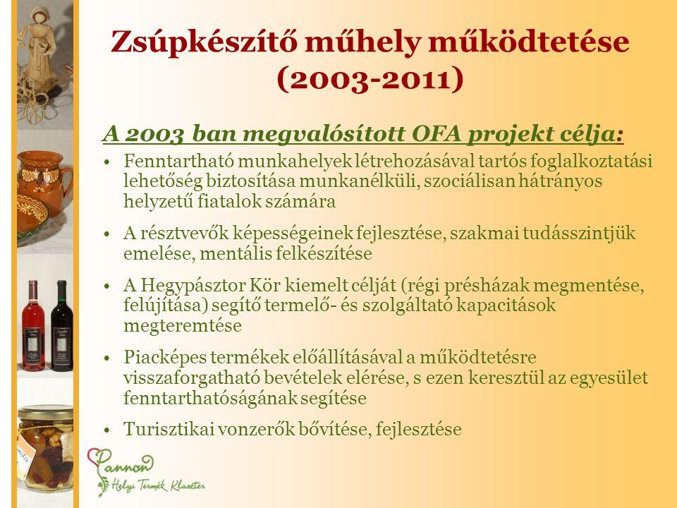 Zsúpkészítő műhely működtetése (2003-2011) A 2003 ban megvalósított OFA projekt célja: •Fenntartható munkahelyek létrehozásával tartós foglalkoztatási lehetőség biztosítása munkanélküli, szociálisan hátrányos helyzetű fiatalok számára •A résztvevők képességeinek fejlesztése, szakmai tudásszintjük emelése, mentális felkészítése •A Hegypásztor Kör kiemelt célját (régi présházak megmentése, felújítása) segítő termelő- és szolgáltató kapacitások megteremtése •Piacképes termékek előállításával a működtetésre visszaforgatható bevételek elérése, s ezen keresztül az egyesület fenntarthatóságának segítése •Turisztikai vonzerők bővítése, fejlesztése