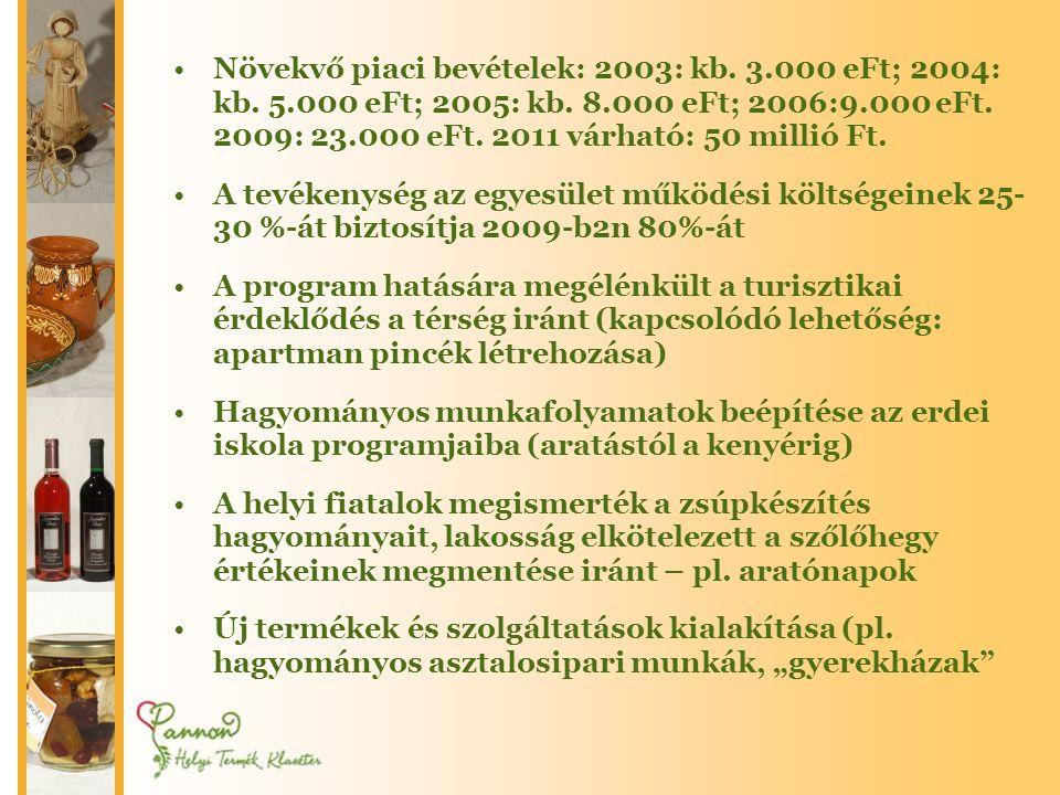 •Növekvő piaci bevételek: 2003: kb.3.000 eFt; 2004: kb.